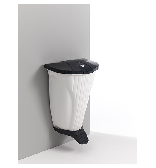 WALL-UP - WHITE BIN W/GREY LID AND PEDAL